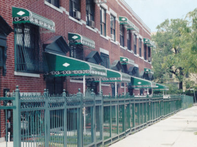 awnings lined up in a block